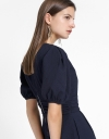 Puff Sleeved Romper With Gathered Waist