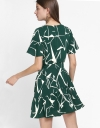 Shift Printed Dress With Gathered Hem