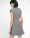 Houndstooth Shift Dress With Lace Panel
