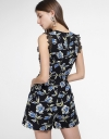 Floral Printed Romper With Lace Trims