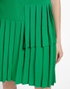 Shift Dress With Layered Pleated Hem