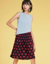 Shift Dress With Contrast Printed Skirt