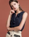 Jacquard Blouse With Ruffled Detail