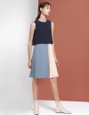 Color Block Dress With Pleated Hem
