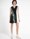 Color Block Dress With Jacquard Detail