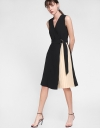 Belted Wrap Dress With Pleated Hem