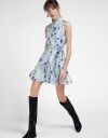 Printed Belted Dress With Gathered Hem