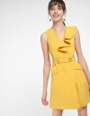 Belted Dress With Ruffled Detail