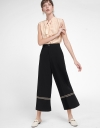 Wide-Leg Pants With Braid Detail