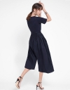 Sleeved Wide-Leg Midi Jumpsuit