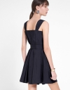 Strappy Shift Pleated Dress With Belt