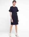 Sleeved Midi Dress With Waist Panel