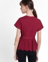 Wrap Top With Embroidered Hem