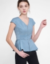 Capped Sleeved Top With Pleated Hem