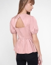 Sleeved Top With Peplum Hem