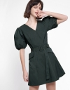 Puff Sleeved A-Line Dress With Belt