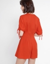 Sleeved Romper With Button Front