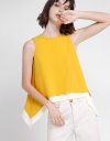 Sleeveless Top With Contrast Layered Hem
