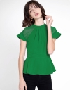 A-Line Top With Contrast Sheer Sleeves