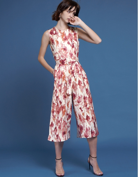 Abstract Printed Wide-Leg Jumpsuit