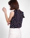 Polka Dotted Blouse With Ruffles