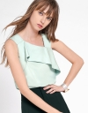 Ruffled Top With Asymmetric Neckline