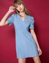 V-Neck Denim Dress With Ruched Sleeves