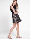 Color Block Embroidered A-Line Dress