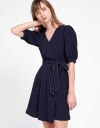 Sleeved Wrap Pleated Dress With Belt