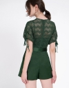 Sleeved Lace-Trimmed Romper