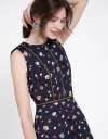 Abstract Printed A-Line Dress