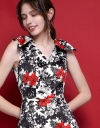 A-Line Bow-Detailed Printed Dress