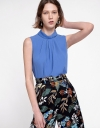 Sleeveless Blouse With Ruffled Front