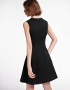 Jacquard A-Line Dress With Semi-Sheer Front
