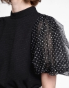 Jacquard Top With Contrast Sleeves