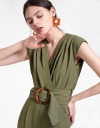 Belted Jumpsuit With Pleated Front