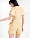 Sleeved Wrap Romper With Tied Waist