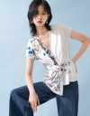 Wrap Blouse With Contrast Print