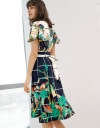 Sleeved Floral Midi Dress With Belt