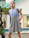 Color Block Dress With Drawstring Waist