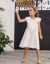 Embroidered Dress With Ruffled Neckline