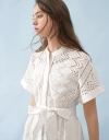 Sleeved Embroidered Shirt Dress