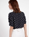 Polka Dotted Blouse With Ruched Sleeves