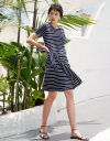 Sleeved Striped Dress With Tied Front