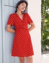 Polka Dotted Dress With Twisted Front
