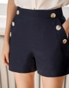 Mid-Rise Shorts With Button