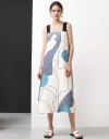 Strappy Abstract Printed Midi Dress