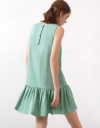Sleeveless Shift Dress With Gathered Hem