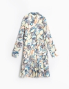Long Sleeve Abstract Print Shirt Dress