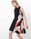 Sleeveless Shift Dress With Contrast Print